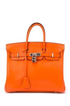 Vintage Hermes Leather Birkin 25 Handbag (Stamp: Square J, Silver Hardware) - Orange by LXR on @HauteLook