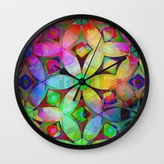 Rainbow Abstract Flowers Wall Clock