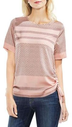 Vince Camuto Diamond Geo Side Drawstring Blouse available at Mixing Prints, New Kids, Personal Stylist, World Of Fashion, Vince Camuto, Nordstrom, Geo, Blouse, How To Wear