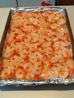 Add shrimp on top of lemons. I used precooked shrimp as a shortcut, but you could use fresh shrimp. Frozen Shrimp Recipes, Cooked Shrimp Recipes, Shrimp Recipes For Dinner, Pork Rib Recipes, Fish Recipes, Seafood Recipes, Cooking Recipes, Meal Recipes, Shrimp In The Oven
