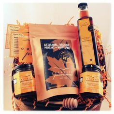 Raw Honey, Maple Syrup and Pancake Mix Gift Set, from the New York States of Mind Marketplace. Made in small batches in Long Eddy, NY by Catskill Provisions.