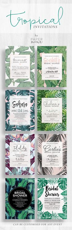 Tropical Bridal Shower Invitations | Tropical Kitchen Tea Invitations | Palm | Monstera | Banana leaf | Pink | Green | Invitations by Paper Minx Designs