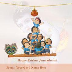 happy janmashtami lord krishna greetings cards with name edit online. happy sri…