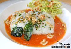 Receta de Bacalao con crema de pimientos escalibados y vinagreta de frutos secos ahumados