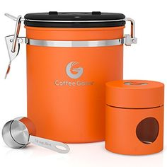 Coffee Gator Stainless Steel Container - Fresher Beans and Grounds for Longer - Canister with Valve, Scoop and Travel Jar - Medium, Silver Stainless Steel Containers, Coffee Canister, Storage Canisters, Fresh Coffee, Best Fruits, Bees Knees, Coffee Machine, Coffee Beans, At Least