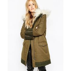 ASOS Parka With Quilting Detail And Faux Mongolian Fur Trim ($135) ❤ liked on Polyvore featuring outerwear, coats, khaki, asos parka, cotton parka, parka coat, khaki parka and fur trim hooded coat