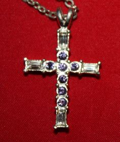 Vintage Necklace Silver Tone Cross with White by ilovevintagestuff