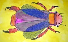 Week could be as creative as they wanted to be with their insect as long as it contained the three main parts of an insects body. They did the drawing in pencil and sharpie marker, then used watercolor paints to add color. Art Education Lessons, Art Lessons For Kids, Art Lessons Elementary, Art Sub Plans, Art Lesson Plans, 2nd Grade Art, Bug Art, Insect Art, Spring Art
