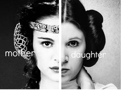 Mother & daughter.  #NataliePortman as Padme Amidala and #CarrieFisher as Leia.   #StarWars