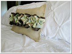 Burlap Pillow with Ruffles to match the room.