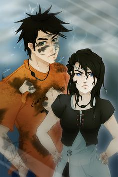 Percy Jackson, son of Poseidon and Thalia Grace, daughter of Zeus. Their meetings always involve Percy soaking Thalia, or Thalia electricuting Percy. Lol They would make a great cousins Percy And Annabeth, Annabeth Chase, Percy Jackson Books, Percy Jackson Fandom, The Titan's Curse, Thalia Grace, Camp Jupiter, Daughter Of Poseidon, Wise Girl