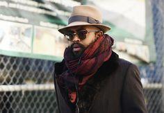 Great Scarf. Black & Red. Coat. Fury. Sunglasses. Great Match. Men. Fashion. Beard.