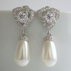 Luxury Pearl Jewelry White Pearl Earrings by poetryjewelry on Etsy, $60.00