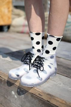 Transparent boots plus polka dot socks! Clear Rain Boots, Clear Shoes, Crazy Shoes, Me Too Shoes, Sock Shoes, Shoe Boots, Transparent Boots, Polka Dot Socks, Polka Dots
