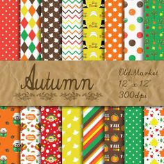 Autumn Digital Paper  Thanksgiving Backgrounds  Fall Designs