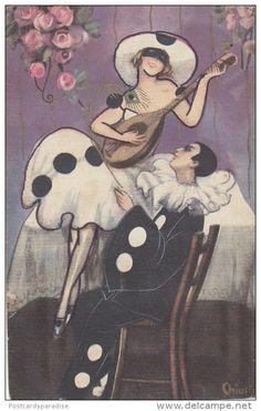 Sofia Chiostri (Italian - Vintage Art Deco Pierrot and Pierrette card Art Deco Illustration, Illustrations, Pierrot, Art Vintage, Vintage Circus, Stock Character, Vintage Magazine, Pantomime, Art Nouveau