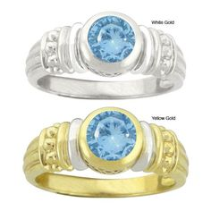 10k Gold Synthetic Blue Zircon Round Ring (Yellow Gold- 5.5), Women's, White
