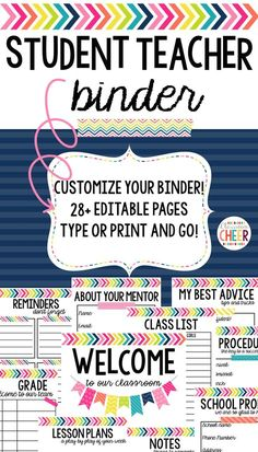 Student teaching binder that includes everything a student teacher needs to have a successful experience! Gift this to your new student teacher, or fill it in as you begin your student teaching! Includes BOTH editable & printable pages! Student Teaching Binder, Student Teacher Gifts, Student Binders, Teacher Binder, Teacher Organization, New Teachers, Teaching Tips, School Teacher, Teacher Stuff