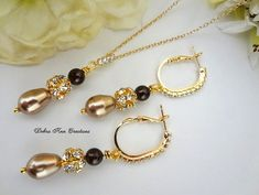 Swarovski Champagne Pearl Necklace Earring by DebraAnnCreations.etsy.com Copyright