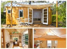 Sol Haus Design Tiny House Board And Batten Exterior, Cottages And Bungalows, Micro House, Tiny House Living, Home Trends, Tiny House Design, Double Doors, All About Time, Shed