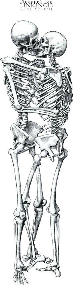 Render couple squelettes crane skeleton skull baiser kiss macabre - Personnages - PNG image sans fond - Posté par Boulgom - Telecharger le render