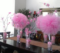 DIY Tulle and Tree Branch Centerpieces: ©Barn Tree Place original . Please see our instructions and other amazing DIY's at www.barntreeplace.com.