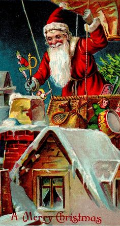 Vintage Christmas Card ~ Santa Delivering from a Hot Air Balloon!