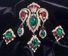 Crown Trifari Scheherazade Moghul Jewels of India Brooch Earring Demi Parure Set #Trifari