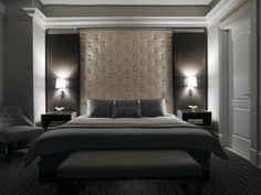 floor to ceiling tufted deep button headboard - luxurious contemporary - David Rockwell designer at The Carlton, NY