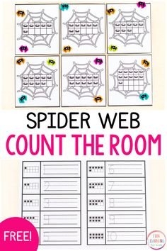 Spider Count the Room Activity Fun Learning, Math Activities For Kids, Fun Math Games, Writing Numbers, Free Spider, Halloween Math, Math Concepts, Teaching Math, Math Centers