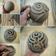 "Making of little raku candle lantern ""sea brain coral"""