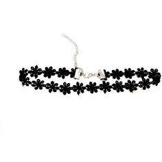 Adjustable Dainty Black Daisy Choker ($3.75) ❤ liked on Polyvore featuring jewelry, necklaces, choker, accessories, collar, collar necklace, gothic jewelry, collar choker, goth choker and gothic choker necklace