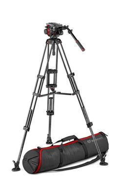 The video system includes the 504 Fluid Video Head with incorporated half ball, the MVTTWINGC professional carbon fiber twin leg tripod with ground spreader, and the handy MB tripod bag. Camera Tripod, Rubber Shoes, How To Level Ground, Carbon Fiber, Videos