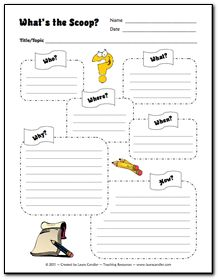 """""""What's the Scoop?"""" graphic organizer and ideas for creating an online class magazine! ~ Laura Candler Put this in my SPED category because I love the organizer and think it would be an awesome way for my kids to use tech and increase writing skills. Teaching Language Arts, Teaching Writing, Teaching Tools, Teaching Ideas, Help Teaching, Teaching French, Student Teaching, Graphic Organizer For Reading, Graphic Organizers"""