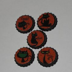 5 Sealed Bottle Caps Spooky Black Cat Halloween for Hair Bows Necklaces Party Favors Toppers Scrapbooking Mini Tree Ornaments