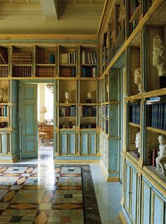 Paola Santarelli's Dazzling Marble Collection outnumbering books in a former Monastery in Rome, Villa Lontana.