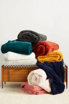 Anthropologie Sophie Faux Fur Throw Blanket, Size One Size - Yellow Fuzzy Blanket, Faux Fur Blanket, Faux Fur Throw, Cozy Blankets, Velvet Throw Blanket, Best Blankets, Fluffy Blankets, Sofa Blanket, Anthropologie Bedroom