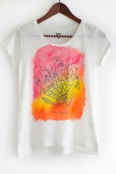 Hand painted T-shirt White and Colorful Boho by SpringHoliday