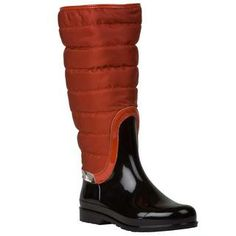 Burberry Women's Orange/ Black Quilted/ Patent Rain Boots