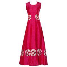 "1960s Vintage Custom Silk Cut Out ""Rings"" Pink Mod Maxi Dress"