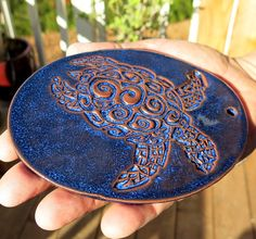 Turtle Ornament - Ceramic Cobalt Blue Tortoise - Stoneware Hanging Art Object. Check out the wonderful ceramics from a good buddy of mine, new pintrest listings and an ETSY shop.  You will love it!!