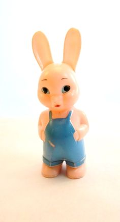 Vintage Knickerbocker Plastic Co. Glendale Calif. Bunny Rabbit Baby Rattle Hard Plastic Baby Toy Collectible Easter