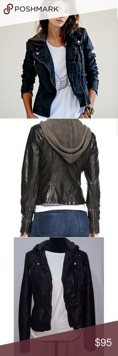 Free People Vegan Leather Hooded Jacket Distressed Vegan Leather Motorcycle Jacket with Moto Stitch Detailing around the Waist. Hood is detachable. Zipper and button closure in the front, with zip detailing at each sleeve hem. An asymmetrical zipper.  *naturally has a distressed look. Explains the white lines and spots all around the jacket * Jacket is more of a matte black while the hoody is a faded gray. Free People Jackets & Coats