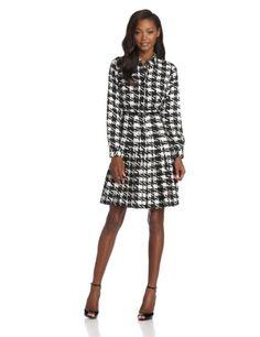 Calvin Klein Women%27s Long Sleeve Herringbone Shirt Dress