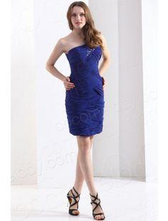 One Shoulder Short Mini Chiffon Blue Party Dress