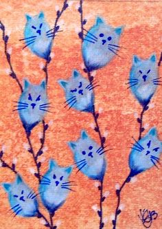 """Aceo Original """"POWDER BLUE PUSSY WILLOWS"""" pencil/ink ON EBAY"""