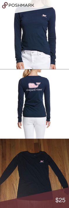Navy vineyard vines shirt Fitted vineyard vines shirt, I've had it for a while but only worn it a couple times Vineyard Vines Tops Tees - Long Sleeve