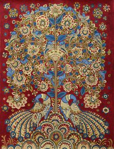 Kalamkari Painting Tree of Life Signed Folk Art 'Celebration II' Novica India Pichwai Paintings, Indian Art Paintings, Mural Painting, Peacock Painting, Tree Of Life Painting, Tree Of Life Art, Madhubani Art, Madhubani Painting, Traditional Paintings