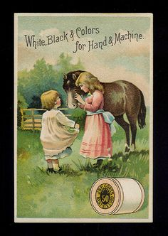 Girls Love Their Beautiful Little Pony 1880s Victorian Trade Card Coats Thread