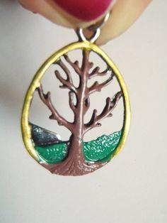 ciondolo albero della vita smaltato smalto pendente argento tibetano wicca charm yoga protezione porta fortuna beads craft lasoffittadiste